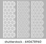set of white lace seamless... | Shutterstock .eps vector #640678960