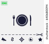 place setting with plate  knife ...   Shutterstock .eps vector #640680094