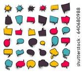 36 funny set comic book cartoon ...   Shutterstock .eps vector #640680988