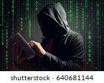 computer hacker with digital... | Shutterstock . vector #640681144