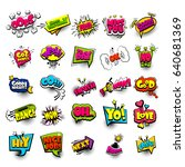 big set colored comic book text ... | Shutterstock .eps vector #640681369