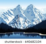 vector illustration   lake in... | Shutterstock .eps vector #640682104