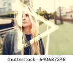 young hipster woman listening... | Shutterstock . vector #640687348