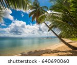 tropical island   sea  sky and...   Shutterstock . vector #640690060
