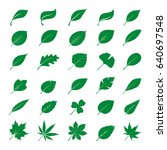 collection of green leaves.... | Shutterstock .eps vector #640697548