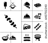 gourmet icon. set of 13 filled... | Shutterstock .eps vector #640702240