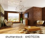 modern interior room with brown ...   Shutterstock . vector #64070236