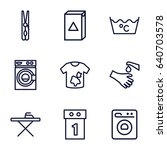 washing icons set. set of 9... | Shutterstock .eps vector #640703578