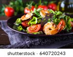 fresh salad plate with shrimp ... | Shutterstock . vector #640720243