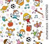 playful happy kids fun seamless ... | Shutterstock .eps vector #640720960