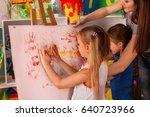 children painting finger on... | Shutterstock . vector #640723966
