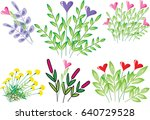 vector drawing flower and heart ... | Shutterstock .eps vector #640729528