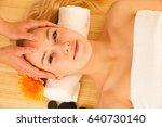 beautiful blonde woman having a ... | Shutterstock . vector #640730140