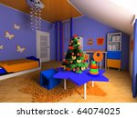 new year tree in a children's... | Shutterstock . vector #64074025