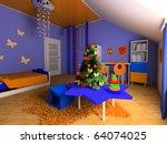 new year tree in a children's... | Shutterstock . vector #64074025