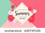 summer sale background layout... | Shutterstock .eps vector #640749100