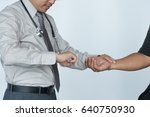doctor is checking patience's... | Shutterstock . vector #640750930