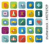 pharmacy color icons with long... | Shutterstock .eps vector #640751929