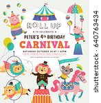 kids birthday party invitation... | Shutterstock .eps vector #640763434