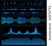 notes and sound waves. music... | Shutterstock .eps vector #64076791