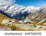 new zealand travel hikers...   Shutterstock . vector #640768150