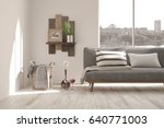 white room with sofa and urban... | Shutterstock . vector #640771003