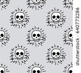 seamless pattern  skull art  ... | Shutterstock .eps vector #640773286