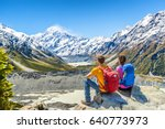 backpackers couple hiking...   Shutterstock . vector #640773973