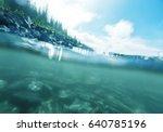 underwater scene in mountains... | Shutterstock . vector #640785196