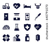 medical icons set. set of 16... | Shutterstock .eps vector #640791070