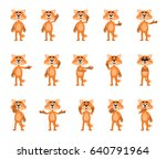 set of cartoon fox characters... | Shutterstock .eps vector #640791964