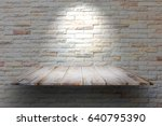 wooden plank shelves and white... | Shutterstock . vector #640795390
