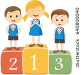 happy children standing on the...   Shutterstock .eps vector #640800040