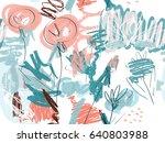 doodles with grunge texture... | Shutterstock .eps vector #640803988