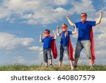 father and children playing... | Shutterstock . vector #640807579