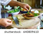 chef making traditional... | Shutterstock . vector #640809610