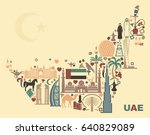 symbols of the united arab... | Shutterstock .eps vector #640829089
