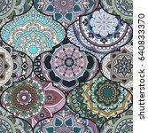 colorful tiles boho seamless... | Shutterstock .eps vector #640833370