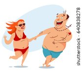 happy fat couple on the beach...   Shutterstock .eps vector #640838278