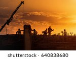 construction site at sunset | Shutterstock . vector #640838680