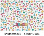 summer beach hand drawn vector... | Shutterstock .eps vector #640840108