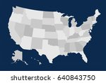 gray usa map on blue background.... | Shutterstock .eps vector #640843750