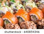 sushi rolls close up | Shutterstock . vector #640854346
