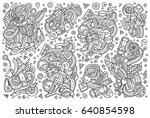 vector line art hand drawn... | Shutterstock .eps vector #640854598