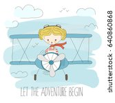 cute little girl flying a plane ... | Shutterstock .eps vector #640860868