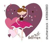 beautiful ballerina in... | Shutterstock .eps vector #640860883