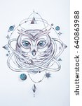 sketch of a wise owl on a white ...   Shutterstock . vector #640863988