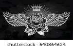 ornate old fashioned wings and... | Shutterstock .eps vector #640864624