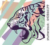 hand drawn stylized tiger head... | Shutterstock .eps vector #640866199