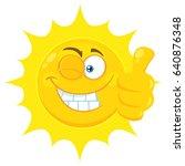 smiling yellow sun cartoon... | Shutterstock . vector #640876348